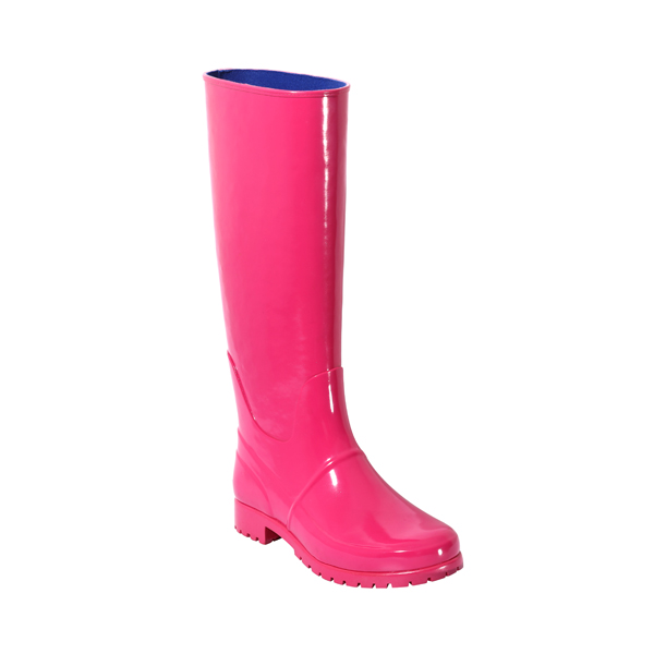 Women's Knee High Rubber Boots In Pink