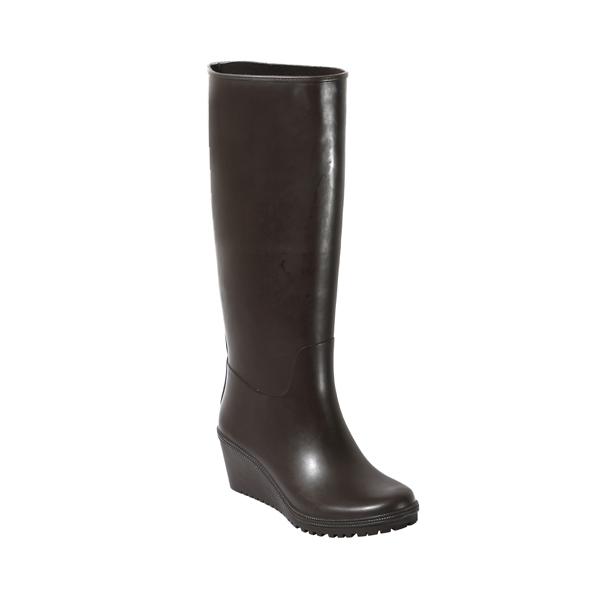 Black Tall Welly Boot With High Heel