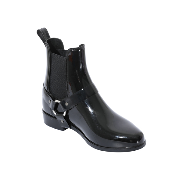 Black PVC Rain Boot With Side Buckles