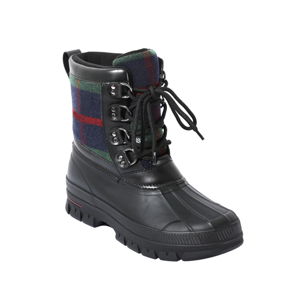 Men's Rubber Snow Boots With Plaids
