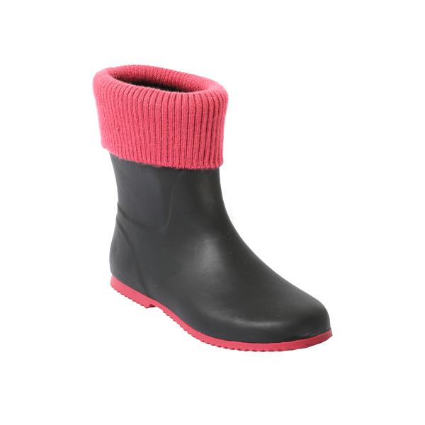 Women's Black Rainboot With Collar
