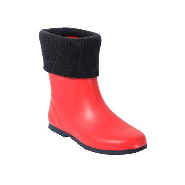 Red Rubber Boots With Collar Fleece