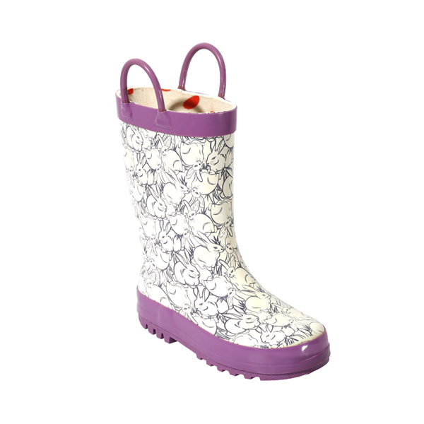 Purple Rubber Welly Boots With Prints