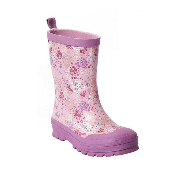 Purple Flower Rain Shoes For Girls
