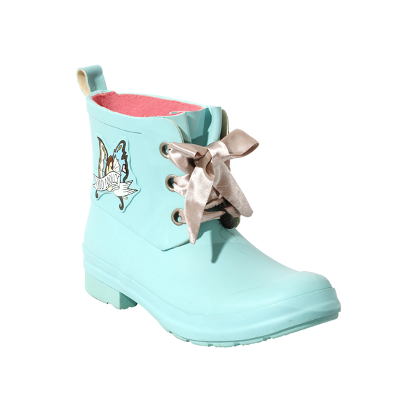 Baby Blue Rubber Welly Boots For Ladies