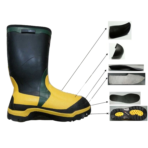 Rubber Safety Boots For Men With Steel toe&Plate