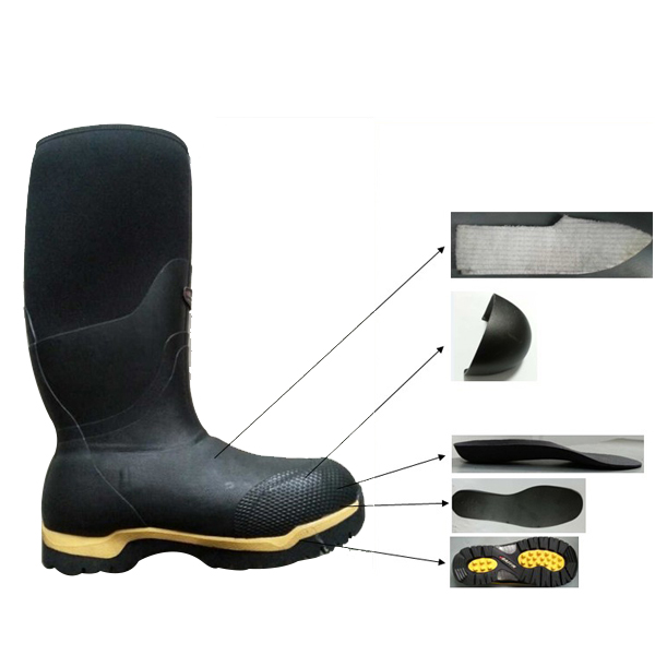 Black Safety Rubber Boots With Steel Toe